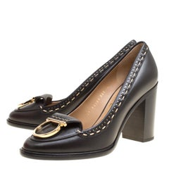 Salvatore Ferragamo Black Leather Fele Ganci Block Heel Loafer Pumps Size 38.5