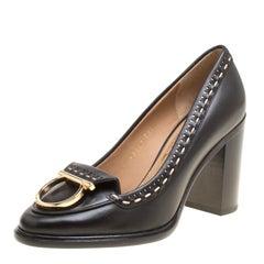 Salvatore Ferragamo Black Leather Fele Gancio  Block Heel Loafer Pumps Size 36.5