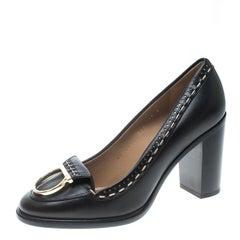 Salvatore Ferragamo Black Leather Fele Gancio Block Heel Loafer Pumps Size 38