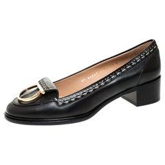 Salvatore Ferragamo Black Leather Fele Gancio Block Heel Loafer Pumps Size 40