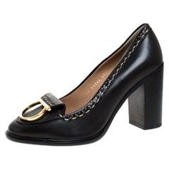 Salvatore Ferragamo Black Leather Fele Gancio Block Heel Loafer Pumps Size 40.5