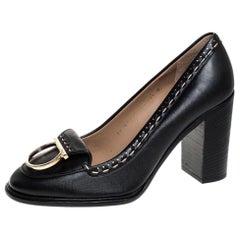 Salvatore Ferragamo Black Leather Fele Gancio Detail Block Heel Loafer Pumps 41
