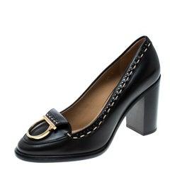 Salvatore Ferragamo Black Leather Fele Gancio Detail Block Heel Loafer Pumps