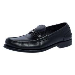 Salvatore Ferragamo Black Leather Gancini Loafers Size 42