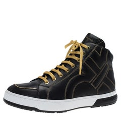 Salvatore Ferragamo Black Leather Gancini Nicky High Top Sneakers Size 41.5