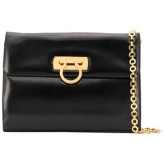 Salvatore Ferragamo Black Leather Gancini Shoulder Bag