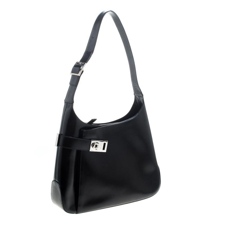 b773b420be Salvatore Ferragamo Black Leather Gancio Hobo For Sale at 1stdibs