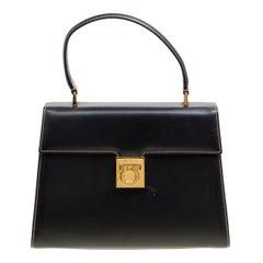 Salvatore Ferragamo Black Leather Gancio Top Handle Bag