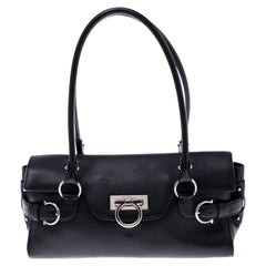 Salvatore Ferragamo Black Leather Gina Satchel