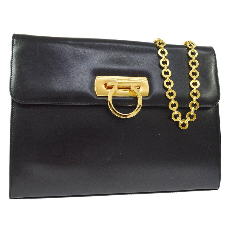 4be48c7e3a2b Salvatore Ferragamo Black Leather Gold 2 in 1 Clutch Shoulder Chain Flap Bag  For Sale at 1stdibs