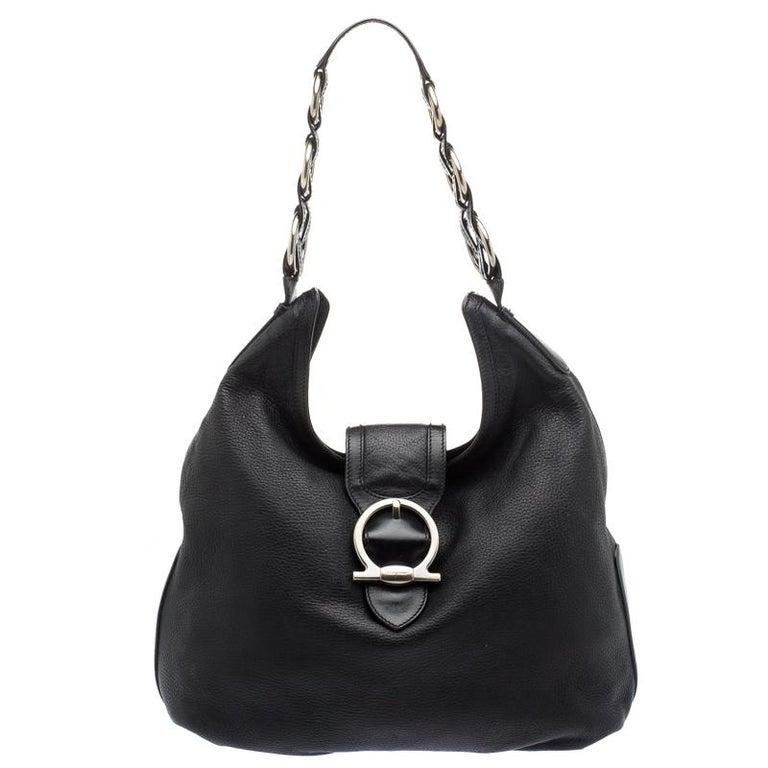 Salvatore Ferragamo Black Leather Hobo at 1stdibs 80e61844e0504