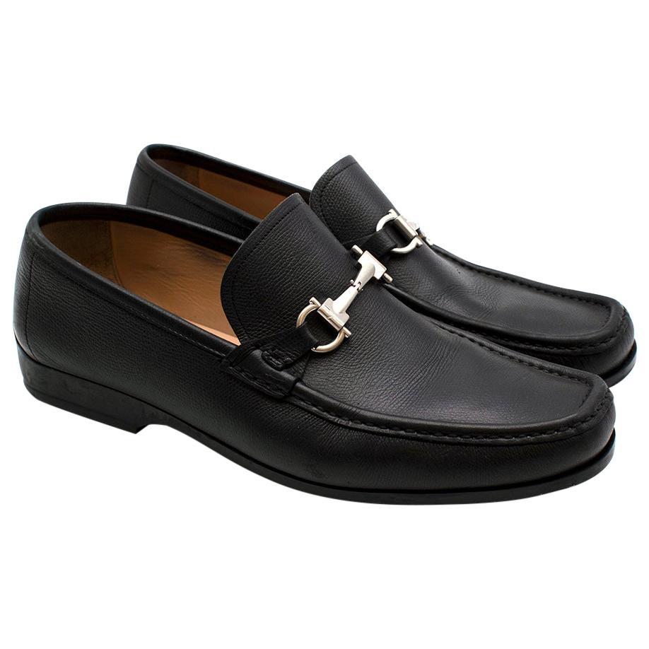Salvatore Ferragamo Black Leather Horsebit Loafers - Size EU 44.5