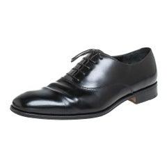 Salvatore Ferragamo Black Leather Lace up Oxfords Size 44.5