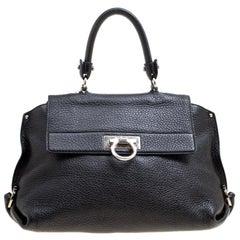 Salvatore Ferragamo Black Leather Medium Sofia Satchel