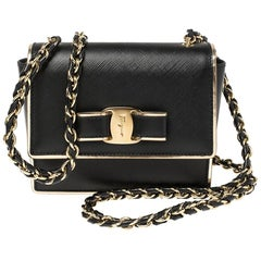 Salvatore Ferragamo Black Leather Mini Vara Shoulder Bag