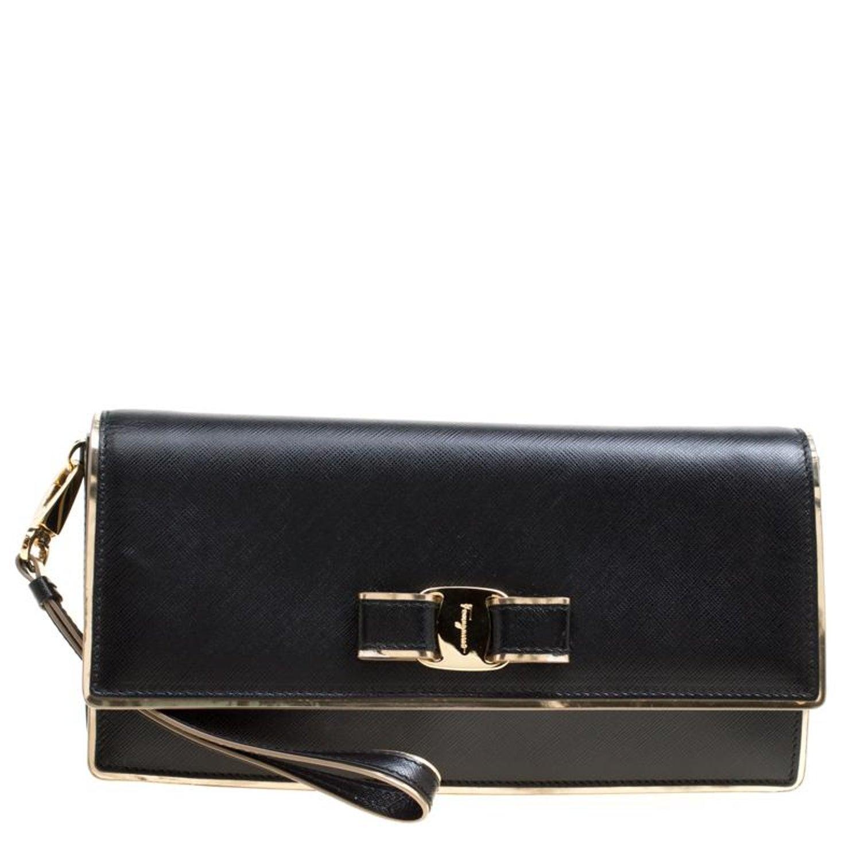 b25c7fa615 Salvatore Ferragamo Black Leather Miss Vara Bow Wristlet Clutch For Sale at  1stdibs
