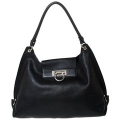 Salvatore Ferragamo Black Leather Sofia Hobo