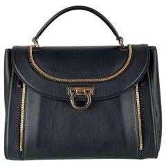 Salvatore Ferragamo Black Leather Sofia Satchel Bag Handbag
