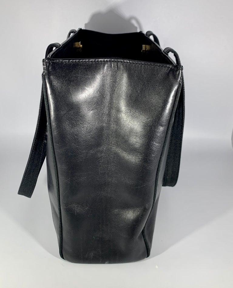 Salvatore Ferragamo Black  Leather Tote / Shoulder Bag In Good Condition For Sale In New York, NY