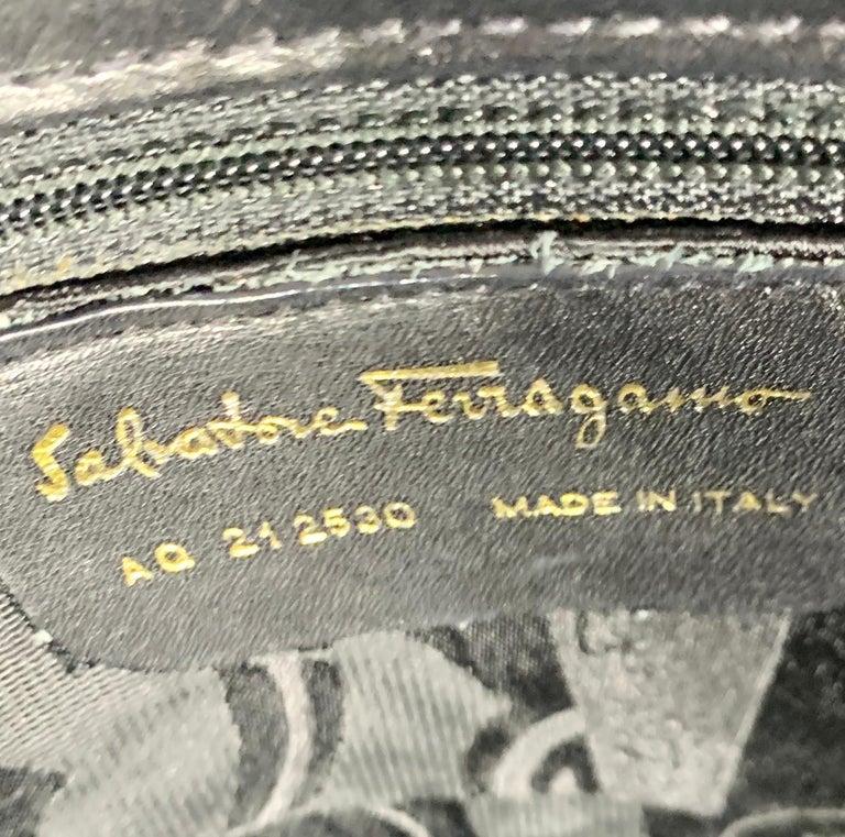 Women's Salvatore Ferragamo Black  Leather Tote / Shoulder Bag For Sale