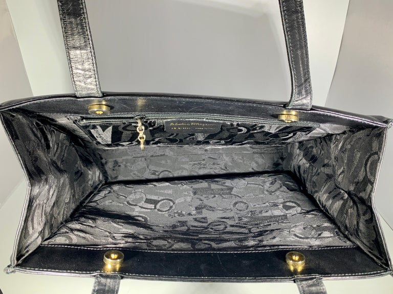 Salvatore Ferragamo Black  Leather Tote / Shoulder Bag For Sale 1