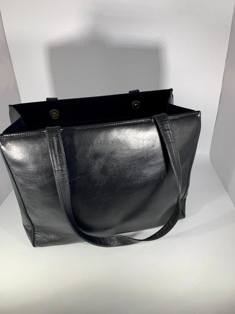 Salvatore Ferragamo Black  Leather Tote / Shoulder Bag For Sale 2