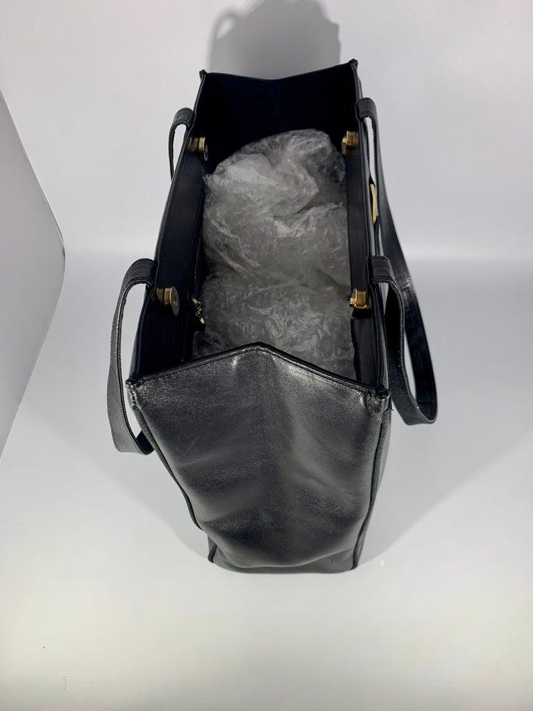 Salvatore Ferragamo Black  Leather Tote / Shoulder Bag For Sale 3