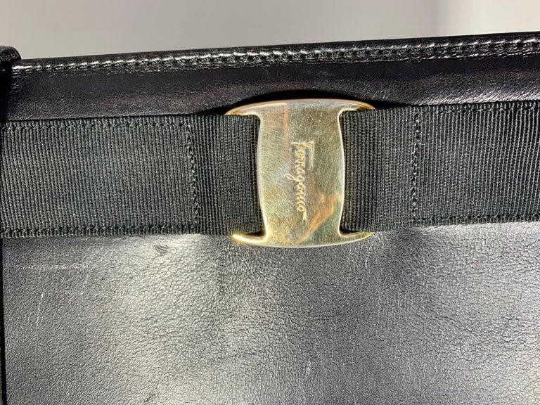 Salvatore Ferragamo Black  Leather Tote / Shoulder Bag For Sale 4