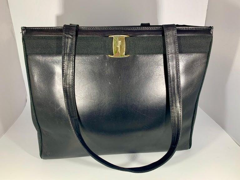 Salvatore Ferragamo Black  Leather Tote / Shoulder Bag For Sale 5