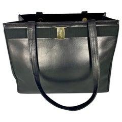Salvatore Ferragamo Black  Leather Tote / Shoulder Bag