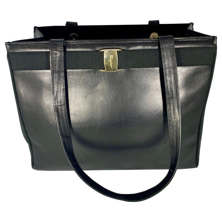 Salvatore Ferragamo Black  Leather Tote / Shoulder Bag For Sale