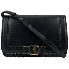 Salvatore Ferragamo Black Leather Vara RW Bow Flap Shoulder Bag