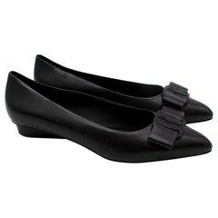 Salvatore Ferragamo Black Leather Viva Ballet Flats - Size 9