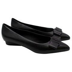 Salvatore Ferragamo Black Leather Viva Ballet Flats - Size US 9