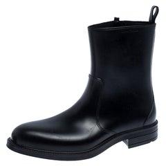 Salvatore Ferragamo Black Leather Zip Ankle Boots Size 41
