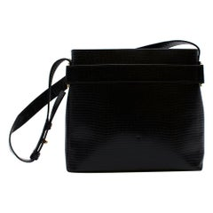Salvatore Ferragamo Black Lizard Embossed Leather Vintage Shoulder Bag
