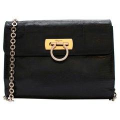 Salvatore Ferragamo Black Lizard Skin Vintage Shoulder Bag