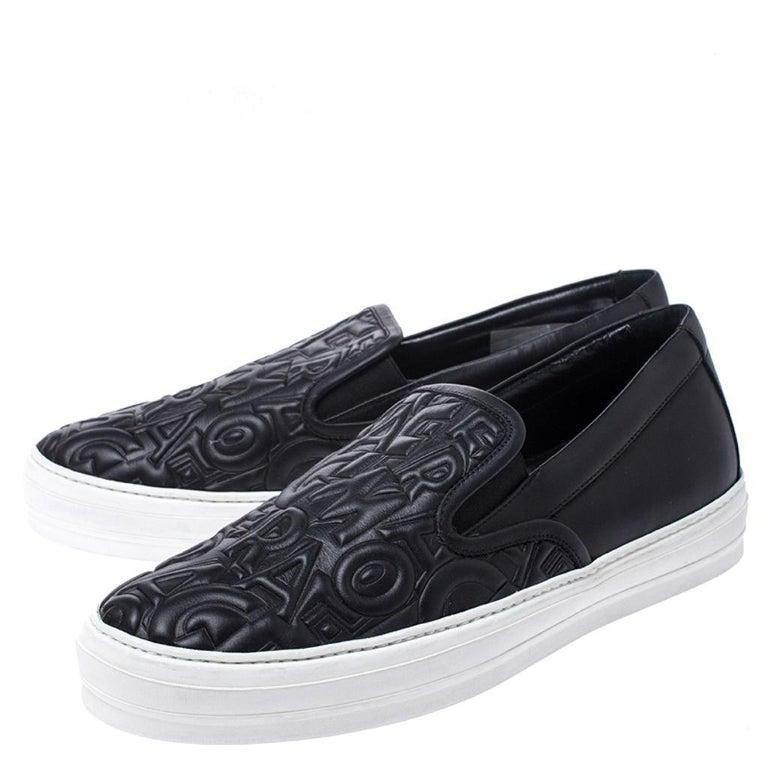 Women's Salvatore Ferragamo Black Logo Embossed Leather Slip On Sneakers Size 40.5 For Sale