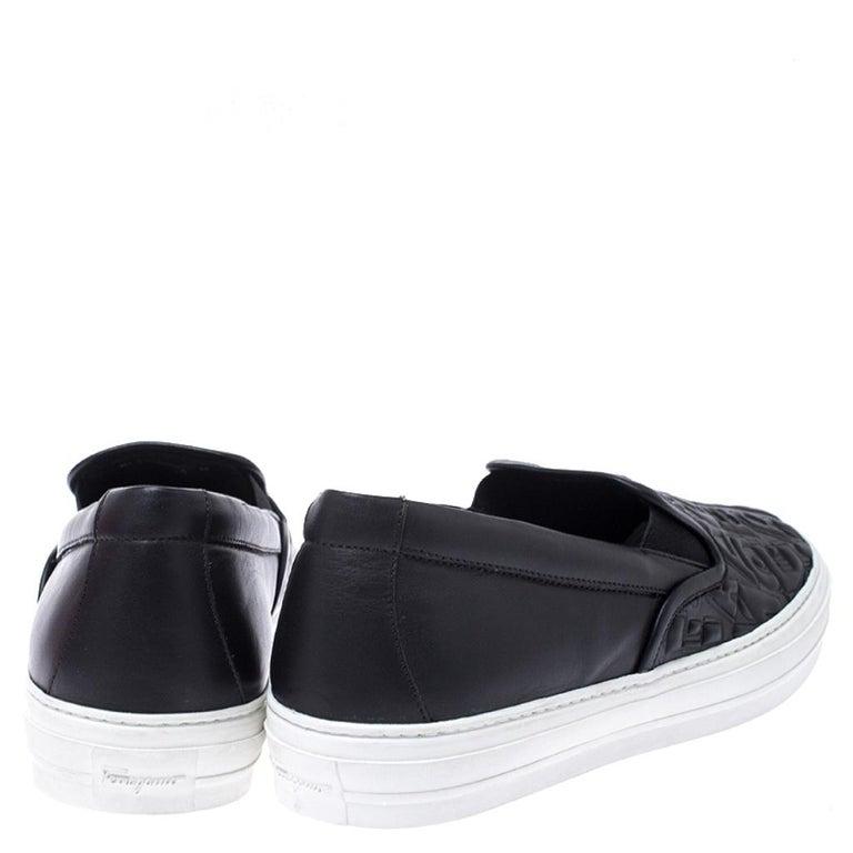 Salvatore Ferragamo Black Logo Embossed Leather Slip On Sneakers Size 40.5 For Sale 1