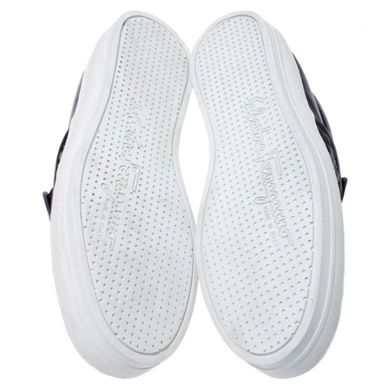 Salvatore Ferragamo Black Logo Embossed Leather Slip On Sneakers Size 40.5 For Sale 2