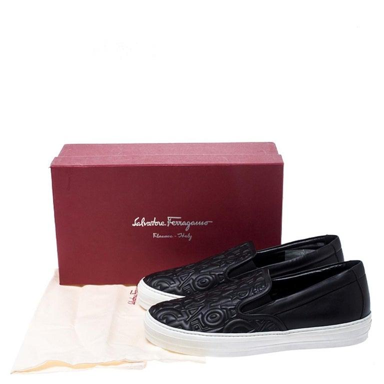 Salvatore Ferragamo Black Logo Embossed Leather Slip On Sneakers Size 40.5 For Sale 4