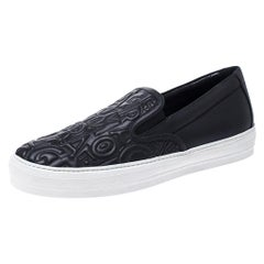 Salvatore Ferragamo Black Logo Embossed Leather Slip On Sneakers Size 40.5