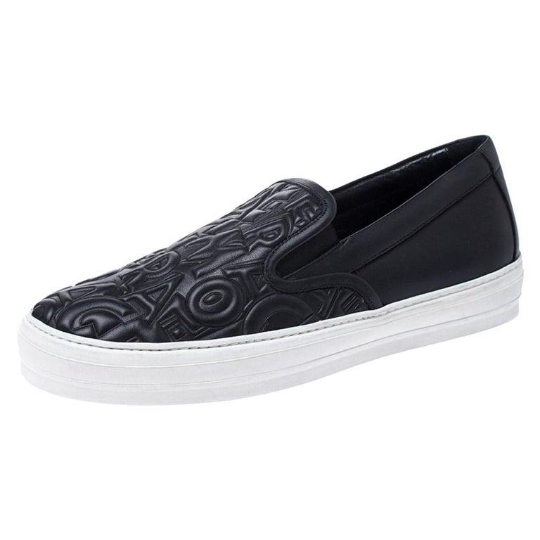 Salvatore Ferragamo Black Logo Embossed Leather Slip On Sneakers Size 40.5 For Sale