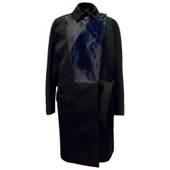 Salvatore Ferragamo Black Long Coat with Navy Lambs Fur IT 46