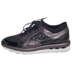 Salvatore Ferragamo Black/Metallic Grey Leather Low Top Sneakers Size 39
