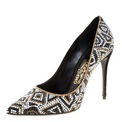 Salvatore Ferragamo Black Mosaic Effect Fiore Embellished Pointed Toe Pumps Size