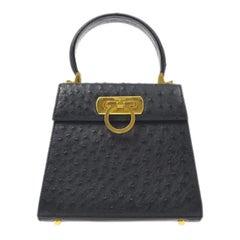 Salvatore Ferragamo Black Ostrich Mini Kelly Style Top Handle Satchel Flap Bag