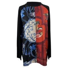 Salvatore Ferragamo Black Patchwork Silk Panelled Blouse Size L
