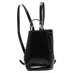 Salvatore Ferragamo Black Patent Leather Backpack