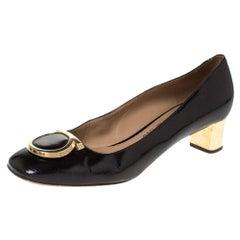 Salvatore Ferragamo Black Patent Leather Fele Gancio Pumps Size 40
